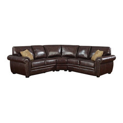 """AC Pacific - 3 pc Louis dark brown leather like fabric upholstered sectional sofa - 3 pc Louis dark brown leather like fabric upholstered sectional sofa with large rounded arms and nail head trim. This set features the sectional with large rounded arms and accented with a nail head trim on the arms.  Sectional measures approx 99"""" x 99"""" x 38"""" D x 38"""" H. Some assembly required."""