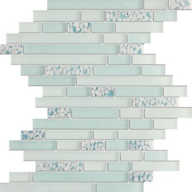Random Strip Pattern Serene Celeste Blue Glossy & Matt Glass Mosaic Tiles, Sheet - 1/2 in. x Random Strip Pattern Serene Celeste Blue Mesh-Mounted Glass Mosaic Tile is a great way to enhance your decor with a traditional aesthetic touch. This Glossy & Matt Mosaic Tile is constructed from durable, impervious Glass material, comes in a smooth, unglazed finish and is suitable for installation on floors, walls and countertops in commercial and residential spaces such as bathrooms and kitchens.