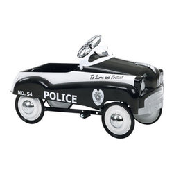 Pacific Cycle - InSTEP Police Car Pedal Riding Toy Multicolor - 14-PC200 - Shop for Tricycles and Riding Toys from Hayneedle.com! What We Like About the Police Pedal Car. A true classic! This adorable riding car features an official police logo. Kids will be able to steer to turn the car while pedaling and lead everyone to safety. Dimensions: 37L x 22W x 15H inches. Recommended for ages 3 to 6. Children's imaginations will be inspired when they see that they have their very own Police Pedal Car to patrol the neighborhood.