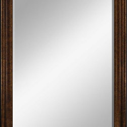 Paragon Decor - Beveled Mirror, Thick Ribbed Dark Wood, 36x48 - Mirror, Mirror, on the wall, who's the most beautiful mirror of them all? Reflect your impeccable taste with this traditional-style mirror, which features a gorgeous thick ribbed dark wood frame and high-quality interior beveled mirror. This piece measures 45 inches wide, 2 inches deep, and 57 inches high.