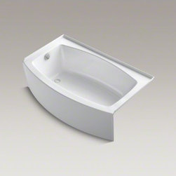 """KOHLER - KOHLER Expanse(R) 60"""" x 30-36"""" curved alcove bath with integral tile flange and - Expanse provides a luxurious bathing experience in a compact, space-saving design that's ideal for smaller bathrooms. A curved basin and integral apron lend graceful elegance to your bathroom and provide plenty of extra room to stretch out and soak. Expan"""