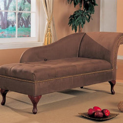 Coaster - Microfiber Chaise Lounge w Flip Open Seat - Traditional style. Uniquely shaped back. Rolled armrest. Brass look nail head trim on the arm and base. Beautiful microfiber fabric. Rich milk chocolate brown upholstery. Flip top seat. Built in storage space beneath. Plush tufted button details on seat. Exposed cabriole style legs in a rich cherry finish. 62 in. L x 25 in. W x 30 in. H. WarrantySuccumb to the luxurious curves of this microfiber chaise lounge chair.