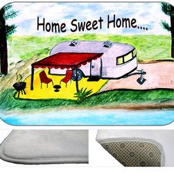 "usa - Camper Home Sweet Home Bath Mat,  20"" X 15"" - Bath mats from my original art and designs. Super soft plush fabric with a non skid backing. Eco friendly water base dyes that will not fade or alter the texture of the fabric. Washable 100 % polyester and mold resistant. Great for the bath room or anywhere in the home. At 1/2 inch thick our mats are softer and more plush than the typical comfort mats. Your toes will love you."