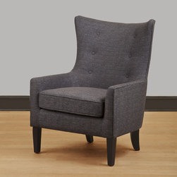None - Carissa Grey Wing Back Chair - This beautiful chair displays classic style updated with modern accents such as a stylized wing back and slender arm rests. Cappuccino-finished wooden legs complete this handsome chair.