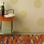 Marrakech Medallion Stencil - The Marrakech Medallion Motif Wall Art Stencil from Royal Design Studio is elegant and easy for stenciling a random pattern on walls, floor, or furniture. Looks great stenciled in different paint colors using our smaller stencil brushes!