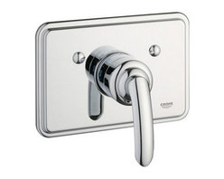 """Grohe - Grohe 19263000 Starlight Chrome Talia Talia Thermostatic Valve Trim - Product Features:Fully covered under Grohe s limited lifetime warrantyTrim constructed of brass - ensuring durability and providing aesthetic appealPremier finishing process - finishes will resist rusting and corrosion through every day useGrohe faucets are exclusively engineered in GermanyThe perfect synthesis of form and functionThermostatic valve cartridge with scald guardADA compliantSecure mounting assemblyAll hardware required for installation is includedRough-in valve not included - when adding to cart valve options will be presentedProduct Technologies / Benefits:Starlight Finish: Continuously improving over the last 70 years GroheÂ's unique plating process has been refined to produce and immaculate shiny surface that is recognized as one of the best surface finishes the world over. Grohe plates sub layers of copper and/or nickel to ensure that a completely non-porous, immaculate surface awaits the chrome layer. This deep, even layered chrome surface creates a luminous and mirror like sheen.TurboStat: By increasing the sensitivity to the thermo element and restructuring the internal waterways, our thermostats react up to twice as fast to abrupt changes in water pressure, and are up to nine times more accurate than the leading competitors. The desired temperature is achieved in seconds and is maintained throughout the duration of your shower. The outstanding precision offered by the TurboStat technology also adds to your showers conservation of water.Valve Trim Specifications:Swinging temperature dial provides optimum controlPre-set safety stop with override capabilityEscutcheon (Trim Plate) Diameter: 8-11/16""""Rough-in valve sold separatelyDesigned for use with standard U.S. plumbing connec"""