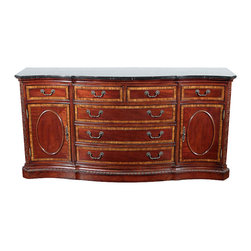 6Ft Wide Mahogany Marble Top Buffet Sideboard Server - Medium brown mahogany finish. Crossbanding & inlaid designs. Shaped black marble top. 2 Side drawers. 5 Center bow-front drawers. 2 Doors accented by large oval inlay. 2 Adjustable shelves. Fretwork pilasters chamfered on each corner. Gadroon trim at plinth base. Antiqued brass finish hardware. Dovetail drawers. Removable silverware cover.