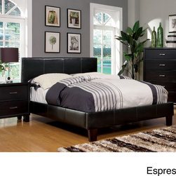 Furniture of America - Furniture of America Kutty Queen Padded Leatherette Platform Bed - Kick back and relax on this modern platform bed. This stylish queen-sized bed features leatherette upholstery,a low-profile construction,and detailed stitching accents. Constructed from solid wood,this furniture is sure to offer years of comfort.
