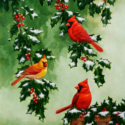 Crista Forest - Bird Painting - Cardinals and Holly - Original oil painting of Northern Red Cardinals and holly, favorite symbols of winter and Christmas.