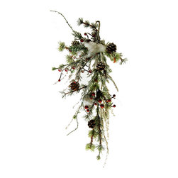 Shea's Wildflowers Company - Flocked Spruce Berry Swag - Deck your mantel or door with holiday cheer courtesy of this beautiful décor, featuring pine cone and berry accents in contrast with durable PVC pine.   28'' H PVC / Styrofoam Imported