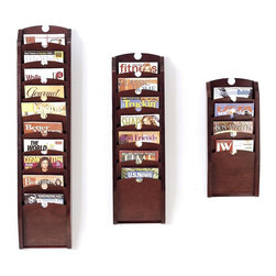 Lesro - Pocket Magazine Rack Set (Cherry) - Finish: Cherry. Dress up a reception area, waiting room or front desk with this magazine rack set, featuring three wood racks with pockets to keep magazines organized and easily accessible. Crafted of wood in your choice of finishes, the racks are wall mount units with optional feet also available. Includes: Four Pocket Magazine Rack, Seven Pocket Magazine Rack and Ten Pocket Magazine Rack. Solid hardwood uprights with antique brass plated hooks. Furniture quality construction and 2 Leg Magazine Bases. Four Pocket Magazine Rack:. Inside Dimension: 9 in. W x 0.75 in. D x 12 in. H. Overall Dimensions: 11 in. W x 3.75 in. D x 26 in. H. Seven Pocket Magazine Rack:. Inside Dimension: 9 in. W x 0.75 in. D x 12 in. H. Overall Dimensions: 11 in. W x 3.75 in. D x 37.5 in. H. Ten Pocket Magazine Rack:. Inside Dimension: 9 in. W x 0.75 in. D x 12 in. H. Overall Dimensions: 11 in. W x 3.75 in. D x 49 in. H