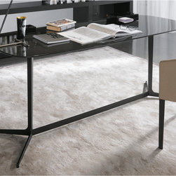 Minotti - Minotti Clyfford Writing Desk - The Clyfford collection is defined by simple contemporary design. The table frame is made from laser-cut, drawn metal and finished in semi gloss pewter-color. Table top is made of MDF, 25 mm in thickness, with shaped edges. Table top is available in open-pore coffee brown lacquered oak or one of the following glossy lacquered colors: mud, granite, pewter and petroleum. Writing desk is part of the Clyfford collection which includes a console table, coffee, small table and lounge tables. Price includes delivery to the USA. Manufactured by Minotti.