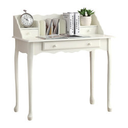 Monarch Specialties - Monarch Specialties 3103 Secretary Desk in Antique White - Dress up your home with this classic antique white secretary desk. Extremely sturdy and very functional, this desk provides ample storage and drawer space with a generous writing space.