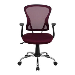 Flash Furniture - Flash Furniture Mid Back Mesh Office Chair with Chrome Finished Base - Flash Furniture - Office Chairs - H8369FALLBYGG - Sporting a contemporary look and ergonomic design, this mesh covered office chair from Flash Furniture is perfect for any office setting, but is economically priced to be affordable for most home office users. Featuring an open mesh back with passive lumbar support, a thickly padded mesh covered seat, and a chrome finished base, this chair is sure to be an attractive and comfortable addition to any setting. [H-8369F-ALL-BY-GG]