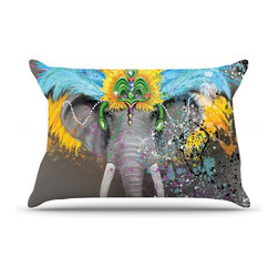 """Kess InHouse - Geordanna Cordero-Fields """"My Elephant with Headdress"""" Gray Rainbow Pillow Case, - This pillowcase, is just as bunny soft as the Kess InHouse duvet. It's made of microfiber velvety fleece. This machine washable fleece pillow case is the perfect accent to any duvet. Be your Bed's Curator."""