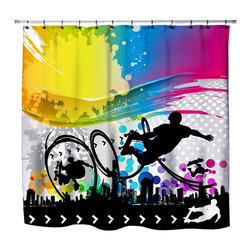 "Extremely Stoked - Eco Friendly ""Skate City"" Skateboard Themed Shower Curtain - Skateboard Shower Curtain from our ""Extremely Stoked"" Skate Bed and Bath Collection."