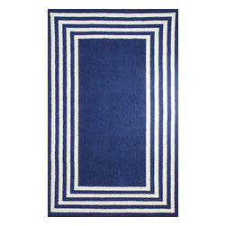 """nuLOOM - Contemporary Solid & Striped 7' 6"""" x 9' 6"""" Blue Hand Hooked Area Rug BL04 - Made from the finest materials in the world and with the uttermost care, our rugs are a great addition to your home."""