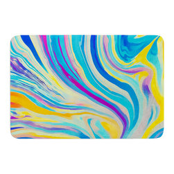 "KESS InHouse - Ingrid Beddoes ""Rainbow Swirl"" Memory Foam Bath Mat (17"" x 24"") - These super absorbent bath mats will add comfort and style to your bathroom. These memory foam mats will feel like you are in a spa every time you step out of the shower. Available in two sizes, 17"" x 24"" and 24"" x 36"", with a .5"" thickness and non skid backing, these will fit every style of bathroom. Add comfort like never before in front of your vanity, sink, bathtub, shower or even laundry room. Machine wash cold, gentle cycle, tumble dry low or lay flat to dry. Printed on single side."