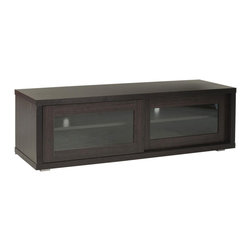 Lincoln TV Cabinet - Get your family room or den organized simply with this deep-toned TV stand. It's easy to let remotes, game systems, and other accessories take over, but this unit provides a shelf for everything and shuts it away behind glass. Not only that, but its rich brown color adds depth and stability you can build the room around.