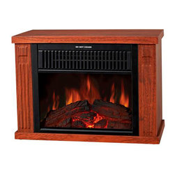 Frigidaire - Zurich - Compact Retro Fireplace, Tabletop Design, 2 Setting 500/1000W - The Frigidaire TZRF-10344 Zurich Tabletop Retro Electric Fireplace, in medium wood-print finish, brings instant warmth and charm to your desk or seating area with its compact design. The realistic flame effect works with and without heat so you can enjoy the glow of the flames all year round. The fireplace has cool touch housing and built-in automatic overheat protection to put you at ease during unexpected power fluctuations or accidental vent blockage. There is no assembly or additional hardware needed - simply plug in and enjoy!