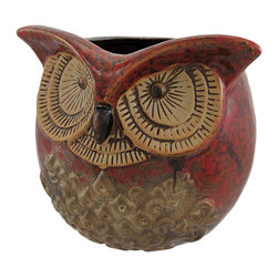 Zeckos - 6 Inch Diameter Ceramic Owl Head Planter - This beautiful, 6 inch diameter ceramic owl planter makes a great gift for owl lovers. The planter has a wonderful mottled brown glaze, with tan accents. It's 5 1/2 inches tall, and the top hole is 4 inches in diameter. It's great for both live and silk plants, and can be used indoors or outdoors.
