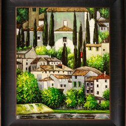 "overstockArt.com - Klimt - Church in Cassone (Landscape with Cypress) Oil Painting Oil Painting - 20"" x 24"" Oil Painting On Canvas Hand painted oil reproduction of a famous Klimt painting, Kirche in Cassone , Church in Cassone (Landscape with Cypress). The original masterpiece was created in 1913. Today it has been carefully recreated detail-by-detail, color-by-color to near perfection. Gustav Klimt (1862-1918) was one of the most innovative and controversial artists of the early twentieth century. Influenced by European avant-garde movements represented in the annual Secession exhibitions, Klimt's mature style combines richly decorative surface patterning with complex symbolism and allegory, often with overtly erotic content. This work of art has the same emotions and beauty as the original. Why not grace your home with this reproduced masterpiece? It is sure to bring many admirers!"