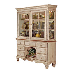 Hillsdale Furniture - Buffet and Hutch - Cottage styling with country accents. Tongue and groover drawer bottoms. English dovetail construction. 79.75 in. H x 63.25 in. W x 19.75 in. D