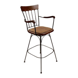 Trade Wind Treasures - Tropic Nights Cayman Swivel Stool (24 in.) - Choose Seat Height: 24 in.. Natural padded woven cane seat in soft brown. Warranty: Ten years for frame and one year for cane seat. Made from hardwood and solid steel. Black powder baked finish. 17 in. square seat24 in. stool. Back height: 38.5 in.. Arm height: 32 in.30 in. stool. Back height: 44.5 in.. Arm height: 38 in.. Warranty