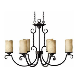 Hinkley - Casa Six-Light Oval Chandelier - -Rust scavo glass  -Includes 6? of wire and 5? of chain  -5W x 7L canopy Hinkley - 3508OL