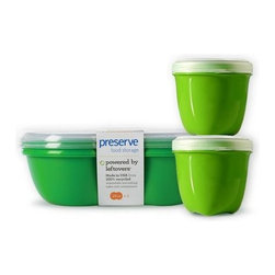 Food Storage Lunch Pack | 4 containers - Our most popular set!  Shaped and colored like green apples, our Food Storage Containers are a friendly addition to any refrigerator or lunchbox. Our square container is ideal for storing sandwiches or salads, and comes with a snap-on lid. Our mini round containers are great for snacks and small foods. They have screw-top lids that won't pop off in your backpack or bag.