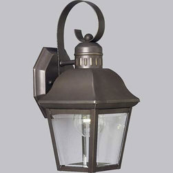 Progress Lighting - P5687-20:  Andover Antique Bronze One-Light Outdoor Wall Lantern - -Hinged Door For Easy Relamping  -Shade: Clear Beveled  -Solid Brass Progress Lighting - 94568720