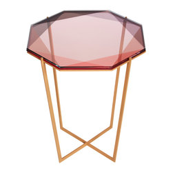 Debra Folz Design - Pink Gem Side Table - Inspired by the reflections of light and transparencies found in gemstones, these metal and glass coffee tables translate facets through layers of color.  Their modular geometries allow for sculptural arrangements within a space and gracefully transfer color onto the floor surfaces they occupy. Thoughtfully crafted in the USA.
