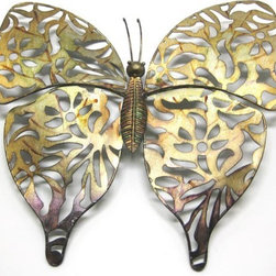 Zeckos - Earth Tone Metal Butterfly Wall Hanging 15 x 15 In. - Add a beautiful accent to your home, porch, or patio with this openwork metal butterfly wall hanging. It measures 15 inches long by 15 inches wide and it is hand painted with earth tone enamels. It easily mounts to the wall with a single nail or screw by the metal keyhole hanger on the back. This piece makes a wonderful housewarming gift that is sure to be admired.