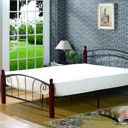 None - Full-size Youth Bed - This bed features a sturdy pine and metal construction in black and dark cherry. The headboard,footboard and rails are included.