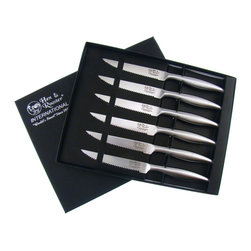 Hen & Rooster International - Hen & Rooster Stainless Steel Steak Knife Set (Set of 6) - Slice through meat as if it were butter with this stainless steel steak knife set from Hen & Rooster. Featuring a serrated edge and full tang construction, these knives are durable, strong, and easy to use. This set has six steak knives.
