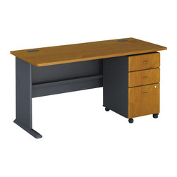 "Bush - Bush Series A 60"" Computer Desk with 3-Drawer File Cabinet in Natural Cherry - Bush - Computer Desks - WC57460PKG2 - Bush Series A 3 Drawer Vertical Mobile File Storage Cabinet in Natural Cherry (included quantity: 1) Put your files in good hands with the Bush Series A Collection Three Drawer File Cabinet, a subtle solution which fits easily under virtually any desk. This classy filing cabinet stands nicely on its own and will excellently complement other Bush Furniture pieces.  Features:"