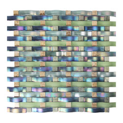 Weave Glass Mosaic, Multi-Color - Contemporary design entwined with ripple glass and marble in vibrant and tropical playful colors to brighten any room.