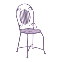 IMAX CORPORATION - Yates Purple Iron Bistro Chair - Imagine indulging in a warm cup of coffee at the corner sidewalk cafe or a nice afternoon at the bakery for a sweet treat! This bistro chair adds color and personality to any location with its iron design. Find home furnishings, decor, and accessories from Posh Urban Furnishings. Beautiful, stylish furniture and decor that will brighten your home instantly. Shop modern, traditional, vintage, and world designs.