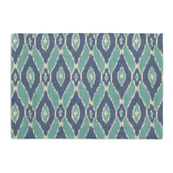 Blue & Aqua Handwoven Ikat Custom Placemat Set - Is your table looking sad and lonely? Give it a boost with at set of Simple Placemats. Customizable in hundreds of fabrics, you're sure to find the perfect set for daily dining or that fancy shindig. We love it in this blue & turquoise handwoven diamond ikat.  an artisan classic straight from india to your home.