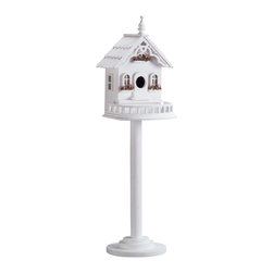 Anzy - Wood Victorian Birdhouse/Feeder - A Victorian delight for feathered friends! This wood birdhouse/birdfeeder is mounted on a stand, and features such charming accents as a white picket fence and dried flowers in the windowsills.  Wood painted white.  Knockdown pole and base.  Measures:  9 3/8 x 8 3/8 x 29 1/4 high.