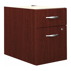 "Bush Business - 3/4 Pedestal File Cabinet in Mahogany - Serie - The sleek and stylish 3/4 File Pedestal in Mahogany mounts to either side of our popular Bow Front Desk, 72 inch Desk and 66 inch Desk.  The file offers one box and one file drawer that employ full-extension ball bearing slides. * Mounts to left or right side of Bow Front Desk, Desk 72"" and Desk 66"". One box and one file drawer for storage needs. File drawer has full-extension ball bearing slides and accepts letter or legal-size files. One lock on file drawer secures both drawers for work place privacy. Fully finished drawer interiors. 15.512 in. W x 20.276 in. D x 20 in. H"
