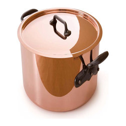 Mauvel M'Heritage 150c 11.7 qt. Stock Pot W/Lid - The Mauviel M'Heritage 11.7 qt. stock pot & lid allows you to cook with unsurpassed heat conductivity and control thanks to it's 90% copper  10% tin lined stainless steel construction.  The M'150c collection features classic cast iron handles  stainless rivets  a polished copper exterior  and an 18/10 stainless interior.  The cookware has a thickness of 1.5 mm  and the copper exterior allows for superior heat conduction and control.  The M'Heritage collection represents the total experience and heritage of Mauviel 1830.  Product Features      Bilaminated copper stainless steel - 90% copper with tin lined   Copper cookware heats more evenly and much faster than other metals  and offers superior cooking control   1.5 mm thickness   18/10 stainless steel interior preserves the taste and nutritional qualities of foods and is easy to clean   Mauviel M'150c cookware can be used on gas  electric  halogen stovetops  and in the oven. It can also be used on induction stovetops with Mauviel's induction stove top interface disc (sold separately)   Mauviel cookware is guaranteed for life against any manufacturing defects (Warranty not valid for commercial use)   Made in France