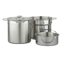 All-Clad® Stainless Multi-Cooker - Ultimate versatility from the masters at All-Clad. Two separate inserts, deep and shallow, transform a generous stockpot into a pasta cooker or steamer. Heavy-gauge stainless steel with an encapsulated aluminum core bottom conducts heat evenly. Tight-fitting 18/10 stainless lid locks in heat and flavor.