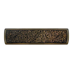 """Notting Hill - Notting Hill Saddleworth Pull - Antique Solid Bronze - Notting Hill Decorative Hardware creates distinctive, high-end decorative cabinet hardware. Our cabinet knobs and handles are hand-cast of solid fine pewter and bronze with a variety of finishes. Notting Hill's decorative kitchen hardware features classic designs with exceptional detail and craftsmanship. Our collections offer decorative knobs, pulls, bin pulls, hinge plates, cabinet backplates, and appliance pulls. Dimensions: 3-7/8"""" x 7/8"""", Center To Center: 3"""""""