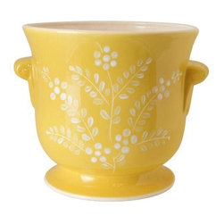 Pre-owned Lee Jackson Yellow California Pot - Keep it sunshiny and bright with this Lee Jackson yellow and white floral pattern pot. Made in California. A great decorative piece!