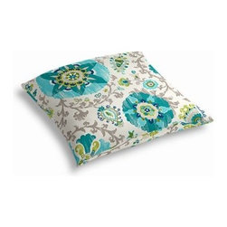 Aqua Suzani Custom Outdoor Floor Pillow - Pick up a Simple Outdoor Floor Pillow for your next shindig under the sun. Perfect for an outdoor picnic or Moroccan style cabana party. We love it in this eclectic blue and aqua outdoor print where suzani meets sunshine.