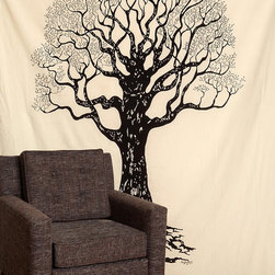 Tree Tapestry - This thin tapestry is a very inexpensive way to liven up a large dead wall. The color is kinda fun — not the typical black and white.