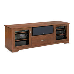 Standout Designs - Standout Designs Horizon EX Wood TV Stand, 1-Drawer, Natural Walnut, Clear Doors - The Horizon EX wood TV stand is skillfully made and beautifully finished by Pennsylvania craftsmen using premium American lumber - Walnut - extensively throughout. It hosts most flat screen TVs to 80 inches diagonal on its top. No assembly is required.