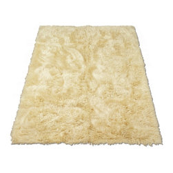 """Walk on Me - Classic Sheepskin Ivory Rectangle Faux Fur Rug (28""""x43"""") - Beauty meets function - simple, sophisticated, always stylish - creates instant warmth, visual comfort, effortless form - warm ivory cream color - easy care machine washable, hypoallergenic, non-slip, ah, perfection - long pile - Made in France"""
