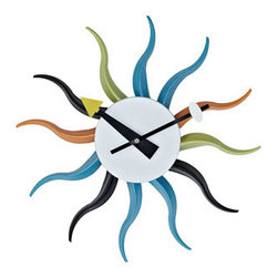 "LexMod - Sunbean Wall Clock in White Black Yellow Blue Green Orange - Sunbean Wall Clock in White Black Yellow Blue Green Orange - Bask in the collective wave of inspiration as you ride the continual present to its fullest. Be inspired by the range of possibilities with Sunbeam's twelve multi-colored metal shafts that seemingly reverberate through the cosmos. The pulse of life takes you through temporal dynamics as you inherit the future with this modern take on a mid-century classic. Set Includes: One - Sunbeam Clock Powder coated steel frame, Uses AA battery (sold separately) Overall Product Dimensions: 2""L x 13.5""W x 13.5""H - Mid Century Modern Furniture."